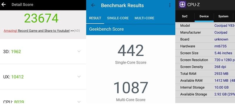 Coolpad Mega 2.5D benchmark results